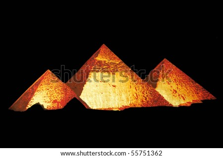 The three pyramids on a black background