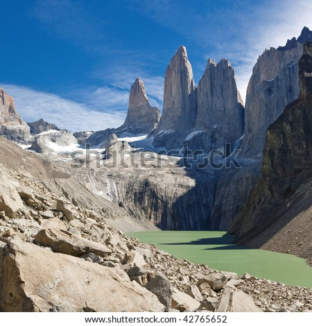 The Three Towers at Torres del Paine National Park, Patagonia, Chile. View from Mirador de Las Torres. - stock photo