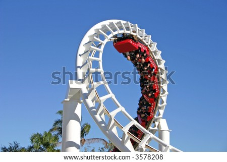 The thrills of a 360 degree turn on a rollercoaster.