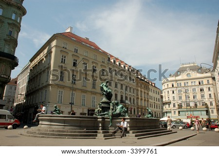 The Thunder Fountain (Donnerbrunnen) in Vienna, Austria - stock photo