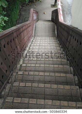 The Tile Staircase with The Wood Railing. (Intently Dark) #505860334
