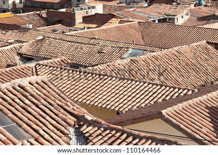 The tiled roof tops of Cusco, Peru
