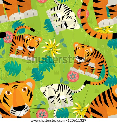 The tilling illustration - cartoon style - illustration for the children - good for wrapping - wallpaper - etc.