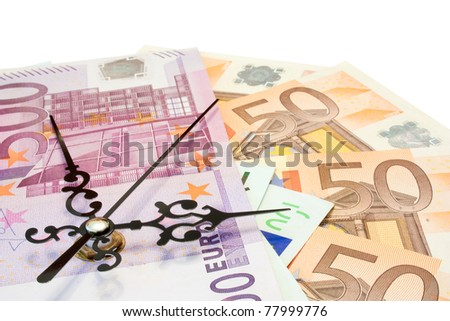 The time is money concept made with euros.