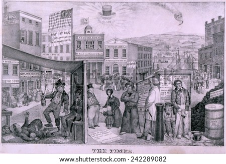The Times depicts the impact of the financial Panic of 1837. Rich detail show a bank run, homeless women and child, unemployed men, closed factory, and sheriff\'s auction.
