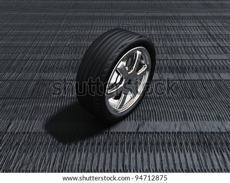 the tire on a background of sculpture