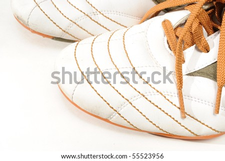 The toes of casual and stylish men's sports shoes.