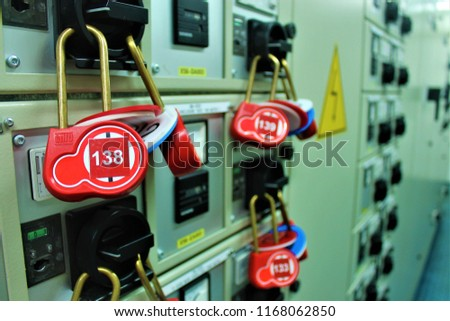 The toggle tags number for electrical isolation log out tag out and key lock isolated for process electrical isolation.
