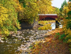 The Tohickon Creek Aqueduct foot bridge in Delaware Canal State Park located in Bucks County Pennsylvania.