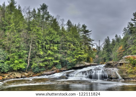 The Tolliver Falls waterfall during Autumn in the western Maryland Appalachian mountains