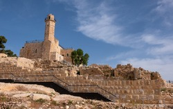The Tomb of prophet Samuel. Traditional burial site of the biblical Hebrew and Islamic prophet Samuel, situated in the Palestinian village of Nabi Samwil in the West Bank.