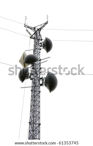The top of a communications tower with multiple dishes (Isolated)