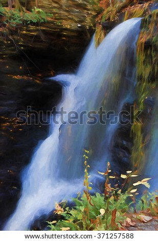 The top of beautiful Fulmer Falls in Autumn, located in the Poconos of Pennsylvania turned into a colorful painting. Fulmer Falls is located in the George W Childs State Park.