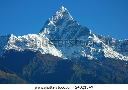 The Top of Machapuchare View from Sarangkot (Pokhara, Nepal)