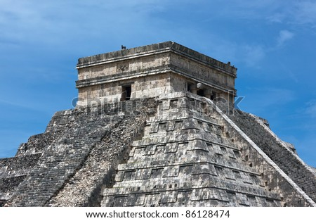 The top of the Chichen Itza feathered serpent pyramid, Mexico