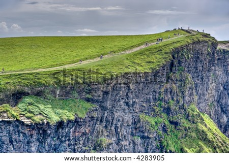 The top of the Cliffs of Moher in Ireland