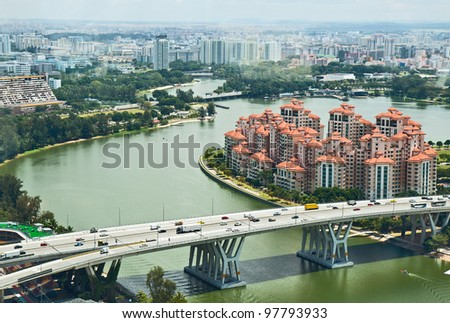 The top view for modern residential areas of Singapore