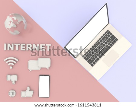 The top view is a simulation of laptop, simulated world, Like symbol,chat symbol,wifi symbol,internet and Smartphone white screen, resting On a Pink and violet pastel table,illustration, 3D rendering.