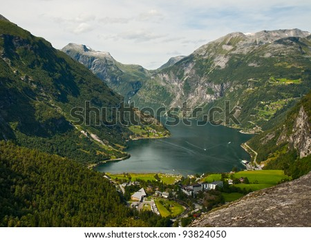 The top view on Gejrangerford and the town Gejranger, Norway