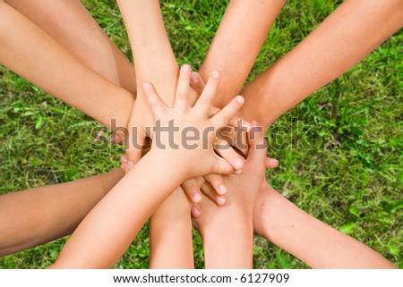 The top view on handshake of children