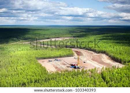 The top view on the platform cut down in the Siberian taiga with oil chisel, Sakha (Yakutia) Republic, Eastern Siberia, Russia