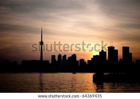 The Toronto skyline at sunset.