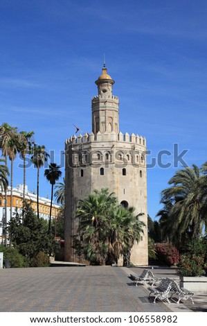 "The Torre del Oro (English: ""Gold Tower"") in Seville, Spain"