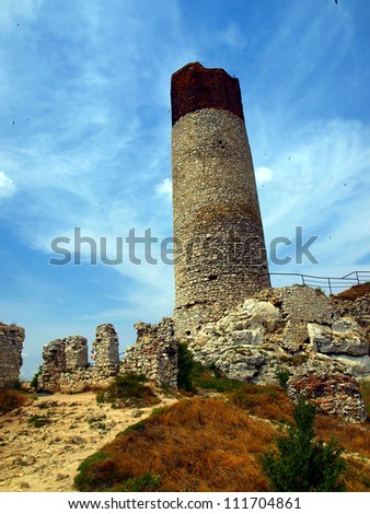 The tower and the ruins of an old castle in Olsztyn near Czestochowa in Poland