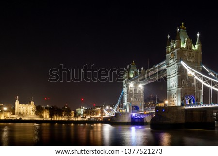 The Tower and the Tower Bridge at night #1377521273
