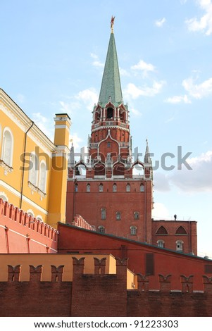 The tower and the wall of the Kremlin. Moscow, Russia.