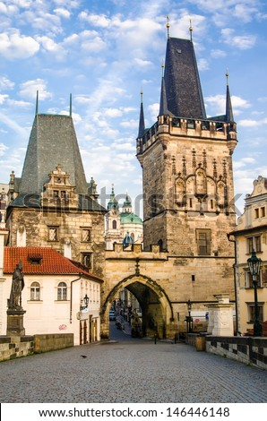 The Tower at the end of the Charles Bridge and Judith Tower, (one of the symbols of Prague)