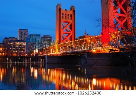 The Tower Bridge Crosses the Sacramento River in the heart of Downtown Sacramento, California #1026252400