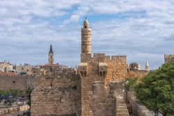 The Tower of David, the Citadel near the Jaffa Gate. The wall of the Old City in Jerusalem. Travel photo