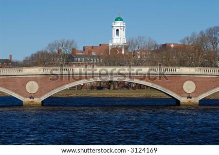 The tower of Harvard University's Lowell House over John W. Weeks Bridge, in Cambridge, Massachusetts.