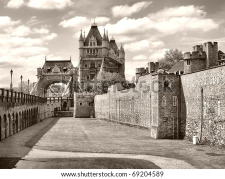 The Tower of London, medieval castle and prison - high dynamic range HDR - black and white
