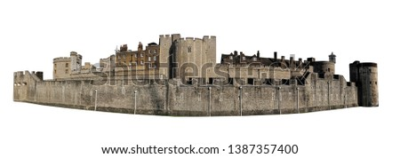 The Tower of London, officially Her Majesty's Royal Palace and Fortress of the Tower of London, is a castle located in London. Isolated on white background.