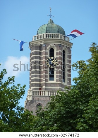 The tower of the our lady ascension basilica is called the peperbus (pepperbox) with the dutch flag in Zwolle in the Netherlands