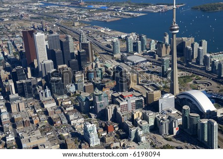 The towers of downtown Toronto, Canada, seen from just above Spadina Avenue.