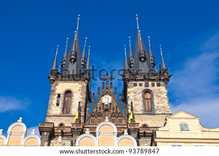 The towers of the Tyn church in Prague, Czech Republic