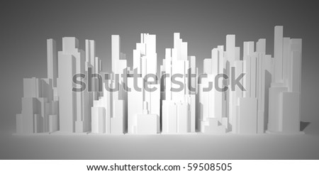 The town consisted of high-rises on a white background