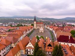 The Town Hall Square (Radničné námestie) in Bardejov, Slovakia. Aerial Drone Shot