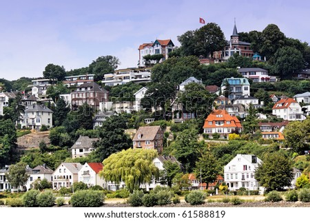 The town houses with Blankenese, area of Hamburg