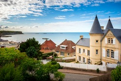 The town of Arromanches-les-Bains in Normandy on the coast of the English Channel, France, one of the allied landing places on D-Day (Gold Beach).  France
