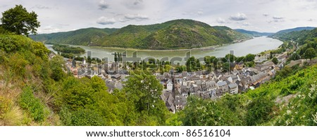 The town of Bacharach along the Rhine River in Germany. The Middle Rhine Valley (Mittelrheintal) is a UNESCO World Heritage Site.