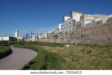 The town of Essaouira and the wall arround it along the coastline of Morocco