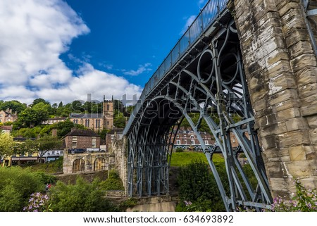 The town of Ironbridge, Shropshire. UK and the ancient bridge across the river Severn