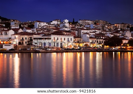 The town of Pylos, southern Greece, captured at dusk