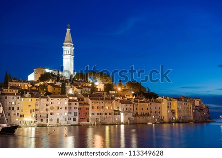 The town of Rovinj in Croatia after sunset