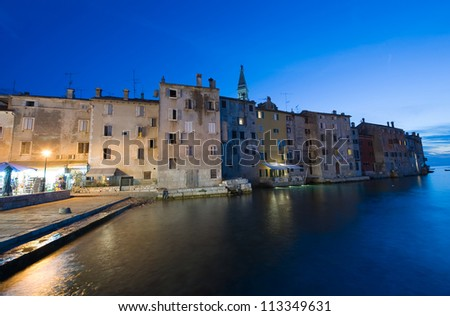 The town of Rovinj in Croatia after sunset - stock photo