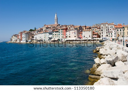 The town of Rovinj in Croatia is a popular tourist destination in the summer